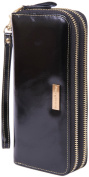 Borgasets Women's Leather Organiser Wallet Double zip Clutch with Wristlet Strap