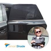 Car Windows Sun Shades Set - Bonus FREE Car Seat Kick Protector & Carrying Pouch - Universal SunShade Protector For Baby, Kids & Pets In Car's Back Seat - Blocks UV Rays, Heat & Sun Glare - 2 Shades