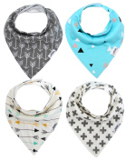 Matimati Baby Bandana Bib Set, 4-Pack Super Absorbent Drool Bandana Bibs