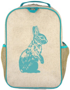 SoYoung Raw Linen Grade School Backpack, Aqua Bunny