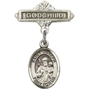 Sterling Silver Baby Badge with St. Joseph Charm and Godchild Badge Pin 2.5cm X 1.6cm