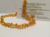 32cm Baltic Essentials Amber Teething Necklace for Babies (Unisex) - Anti Flammatory, Drooling & Teething Pain Reduce Properties - Certificated Natural Oval Baltic Jewellery with the Highest Quality Guaranteed. Easy to Fastens with a Twist-in Screw ..