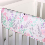 Pink and Mint Green Floral Print Padded Crib Rail Guard by The Peanut Shell