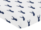 Sweet Jojo Designs Fitted Crib Sheet for Navy Blue and White Woodland Deer Baby/Toddler Bedding Set Collection - Deer Print