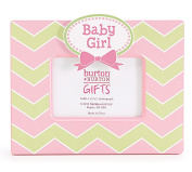 """Baby Girl"" Wooden Pink & Green Chevron Picture Frame for 8.9cm x 13cm Photo"