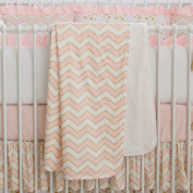 Carousel Designs Pale Pink and Gold Chevron Crib Blanket