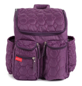 Wallaroo Nappy Bag Backpack with Stroller Straps, Wet Bag and Nappy Changing Pad – For Women and Men - PURPLE - MEDIUM