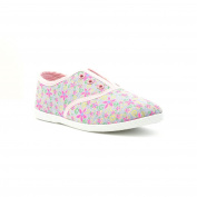 Lilley Girls Grey Floral Slip On Canvas Shoe