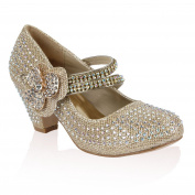 21B Girls Diamante Glitter Kids Party Wedding Mary Jane Low Heel Shoe
