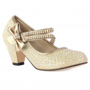 90O Girls Diamante Strappy Kids Block Heel Mary Jane Style Court Shoes