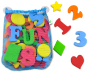 43 Piece Set Foam Bath Letters and Numbers With Bonus Shapes. Mesh Bath Toy Organiser Included To Prevent Mould And For Tidy Storage. Suction Cups Stick To Wall. 100% Non Toxic, Lead, BPA & PVC Free.