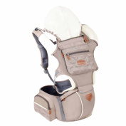 Smart Fun Baby Hipseat Carrier Sling Ergonomic Mult-Position Carriers Natural Cotton Soft Hip Seat Hood Best Khaki