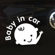 1Pc White Baby in Car (Boy) Baby Safety Sign Car Sticker, Car Decal - Sticker