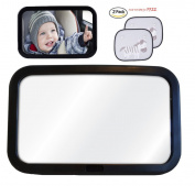 Tofern Baby Car Mirror Rear Seat Headrest Safety Rear Facing Child View Mirror With Window Shades, black