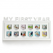 BOJIN My First Year Baby Photo Frame Without Mat, 41x21 CM White Wooden Wall And Table Top Collage Picture Frame - Small