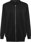 Ladies Long Sleeve Plain Zip Up Elasticated Bomber Jacket Top