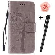Samsung Galaxy S6 Edge Wallet Case,Tebeyy Slim Premium [Leather Wallet],Flip Book Cover with Kickstand,[Magnetic Closure],[Card Slots],for Samsung Galaxy S6 Edge,Retro Elegant Pressed Tree Cat Butterfly Design with Strap Genuine Folio Pu Leather Pouch ..