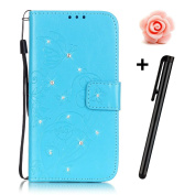 Samsung Galaxy S6 Edge Bling Wallet Case,Tebeyy Slim Premium [Leather Wallet],Flip Book Cover with Kickstand,[Magnetic Closure],[Card Slots],for Samsung Galaxy S6 Edge,Luxury Bling Diamond Rhinestone Elegant Pressed Butterfly Rose Flower Design Genuine ..