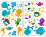 34 Piece Ocean Life Whale Fish Crab Tortoise Wall Sticker Set for Children's Bedroom Baby Room, multicoloured, 2x 16x26cm EUR 7,70