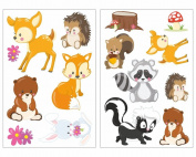 '15 Piece Cute Forest Animals Wall Sticker Set for Children's Bedroom Baby Room, mehrfarbig 999, 2x 16x26cm EUR 7,70