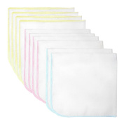Mture Baby Drool Bibs , Stylish Unisex Baby Waterproof Saliva Towel Baby Bib -Soft Cotton and Absorbent Polyester-White 10 pcs