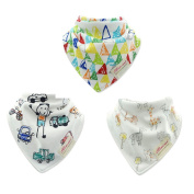 CuteOn Infant Bibs 3-Packs Printed Absorbent Cotton for Unisex Baby One Size