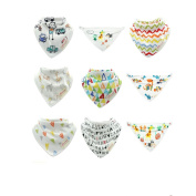 CuteOn Infant Bibs 9-Packs Printed Absorbent Cotton for Unisex Baby One Size