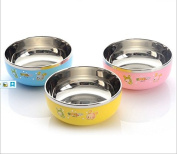 EQLEF® Lovely Colourful Cartoon Stainless Steel Kids Children Double Insulated Break-resistant Bowl