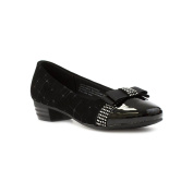 Lilley Girls Black Court Shoe with Bow Feature
