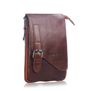 Hengying Mens Genuine Leather Brown Waist Pack Fanny Bag Small Shoulder/Cross Body Satchel Practical Multifunctional Pouch