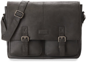 LEABAGS Cambridge genuine buffalo leather briefcase in vintage style - Black