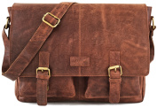 LEABAGS Cambridge genuine buffalo leather briefcase in vintage style - CrazyVinkat