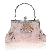Women's Retro style Evening beaded bag with Rose Embroidery for Party, Prom, various parties ,Purse Bag Wedding Handbag