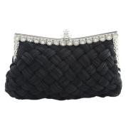 Bluelans® Womens Satin Pleated Wedding Bridal Prom Party Handbag Clutch Bag Black Evening Bags