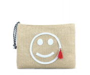 Hoxis Summer Beach Embroidered Smile Face Faux Straw Zipper Clutch Womens Purse