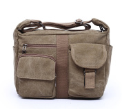 FREEMASTER Large Canvas Messenger Bag School Shoulder Bag Cross Body Bag Pack for Men Women Girls Boys fits A4 40cm Laptop