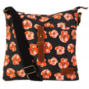 Floral Poppy Print Girls Handbag Waxed Canvas Cross Body Women Messenger Bag