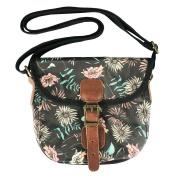 Floral Print Girls Handbag Waxed Canvas Cross Body Women Messenger Bag