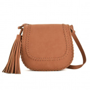 NEW LADIES SIMPLE SOLID SHOULDER CROSS BODY BAG WITH TASSEL PU LEATHER BRAIDED FRONT