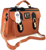 GIRLS LADIES LARGE LYDC SATCHEL SCHOOL COLLEGE UNIVERSITY FAUX LEATHER STYLE CROSS BODY BAG BROWN