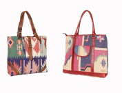 2 Pcs Indian Cotton Made Tribal Shoulder Bag Leather Crafted Wholesale assorted Hobo Bags