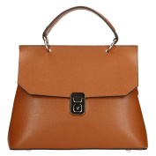 Chicca Borse Woman Elegant Bowling Bag in Genuine Leather Made in Italy 26x22x12 Cm