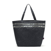 Oath_song Women's Waterproof PVC Coated Denim Sequined Tote Bag Black
