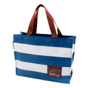 Oath_song Girl's Waterproof Polyester Tote Lunch Bag White Blue Stripes Small Size