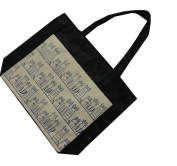 Oath_song Polyester Cartoon Cat Family Canvas Tote Bag Black