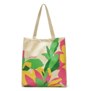 Oath_song Polyester Waterproof Floral Print Tote Shopping Bag Beige Large Size