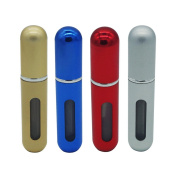 Haobase 4pcs Mini Refillable Perfume Atomizer Bottle for Travel Spray Scent Pump Case 5ml Empty