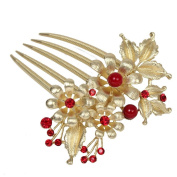 Just Fox Hair Comb with Pearls and Rhinestones in ROSE GOLD