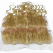 25cm - 50cm Virgin Remy Real Human Hair Piece 613# Beach Blonde Lace Frontal Closure with Baby Hair 33cm x 10cm Ear to Ear