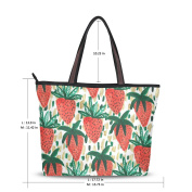 UHONEY Extra Large Handbags for Women,Hand Painting Red Strawberry And Cartoon Banana Patt,Fashion Design Ladies Shoulder Tote Bag